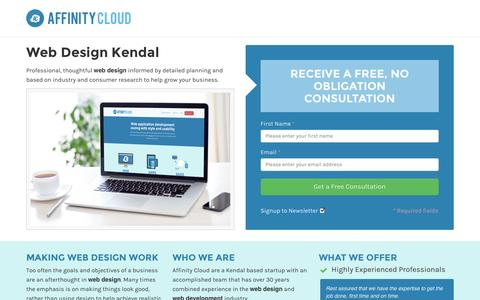 Screenshot of Landing Page affinitycloud.co.uk - Web Design Kendal by Affinity Cloud - captured Oct. 27, 2014