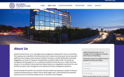 Screenshot of About Page globalfranchise.com - About GFG | Global Franchise Group - captured Nov. 9, 2018