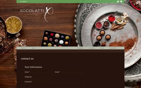 Screenshot of Contact Page xocolatti.com - Xocolatti - captured Oct. 7, 2014