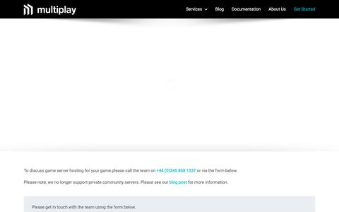 Screenshot of Contact Page multiplay.com - Get Started | Multiplay - captured May 17, 2019