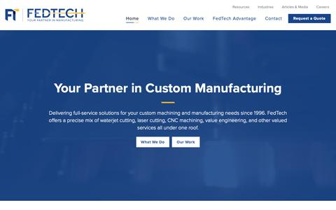 Screenshot of Home Page Menu Page fedtech.com - Custom Waterjet and Laser Cutting Services | FedTech - captured Oct. 10, 2018