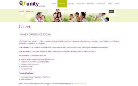 Screenshot of Jobs Page unity.com.sg - Careers - captured Oct. 6, 2014