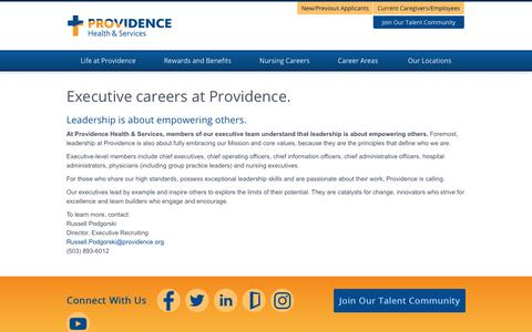 Screenshot of Home Page providence-executive.jobs - Providence Executive Jobs - captured Feb. 2, 2018