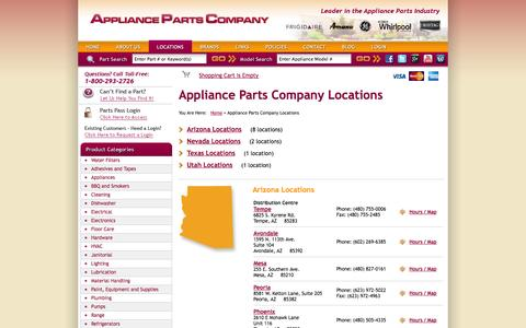 Screenshot of Locations Page appliancepartscompany.com - Appliance Parts Company Locations : Appliance Parts Company - captured Sept. 19, 2014