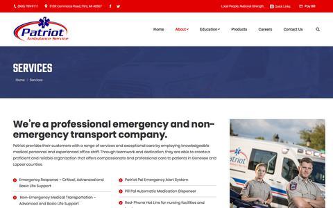 Screenshot of Services Page patriotambulance.net - Emergency Transport & Services | Patriot Ambulance in Flint - captured July 16, 2018