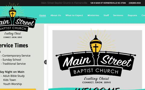 Screenshot of Home Page msbc.cc - Main Street Baptist Church in Kernersville, Nc - captured Nov. 17, 2016