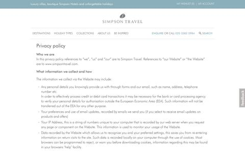 Screenshot of Privacy Page simpsontravel.com - Privacy policy | Simpson Travel - captured Oct. 13, 2017