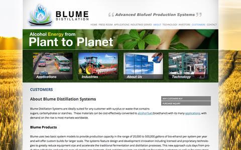 Screenshot of Products Page blumedistillation.com - Customers | BLUME DISTILLATION - captured Sept. 13, 2014