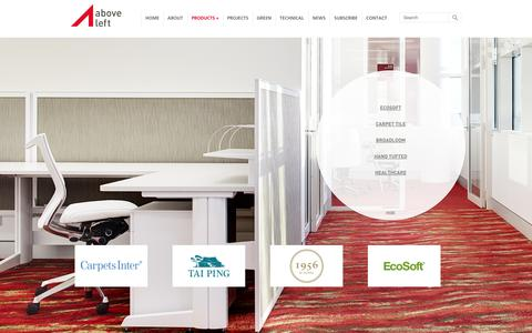 Screenshot of Products Page aboveleft.com.au - Carpet Products: Woven or Tufted Broadloom, Custom Carpets & Carpet Tiles - captured Sept. 30, 2014