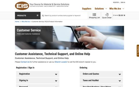 Screenshot of Support Page eis-inc.com - Customer Service, FAQ & Product Information | EIS - captured July 9, 2017