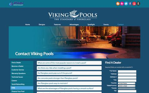Screenshot of FAQ Page vikingpools.net - Viking Pools | FAQs - captured Sept. 19, 2014