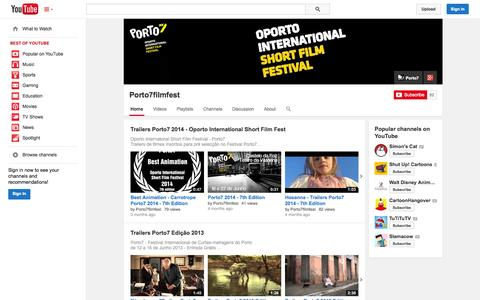 Screenshot of YouTube Page youtube.com - Porto7filmfest  - YouTube - captured Oct. 23, 2014