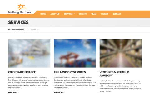 Screenshot of Services Page melberg.no - SERVICES – MELBERG PARTNERS - captured Oct. 17, 2018