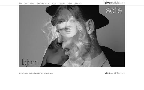 Screenshot of Home Page divamodels.com - Home - Diva Models - captured Oct. 5, 2014