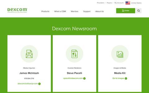 Screenshot of Press Page dexcom.com - News & Press Releases | Dexcom - captured March 26, 2019
