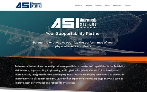Screenshot of Home Page androsysinc.com - Industry-Leading Experts In Reliability Centered Maintenance - Andromeda Systems Incorporated - captured March 5, 2019