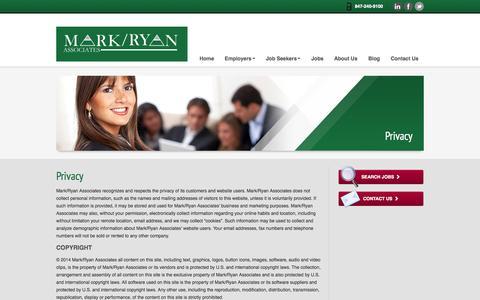 Screenshot of Privacy Page markryan.net - Privacy - Mark/Ryan Associates - captured Oct. 27, 2014