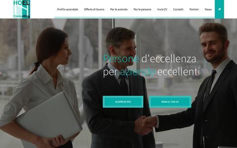 Screenshot of Home Page hoel.it - Hoel Consulting - Risorse Umane d'Eccellenza per l'Azienda - captured Jan. 30, 2016