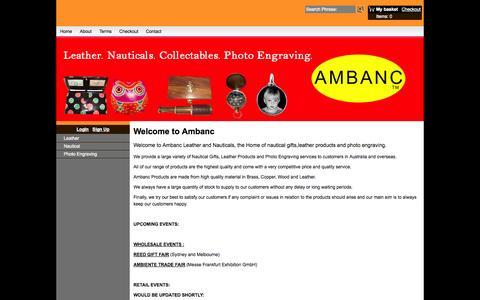 Screenshot of Home Page ambanc.com.au - Ambanc. Leather. Nauticals. Photo Engraving. - captured Oct. 4, 2014