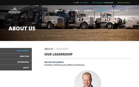 Screenshot of Team Page essentialenergy.ca - Management » Essential Energy Services - captured Sept. 29, 2018