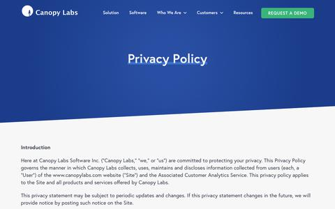 Screenshot of Privacy Page canopylabs.com - Canopy Labs Privacy Policy - captured June 21, 2018