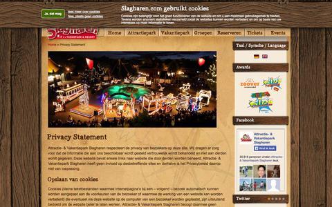 Screenshot of Privacy Page slagharen.com - Privacy Statement - Attractie- & Vakantiepark Slagharen - captured Sept. 25, 2014