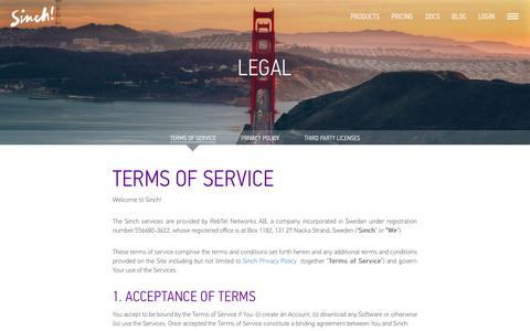 Screenshot of Terms Page sinch.com - Terms of Service   Sinch - captured Oct. 26, 2014