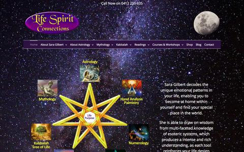Screenshot of Home Page lifespiritconnections.com.au - Life Spirit Connections with Sara Gilbert   Astrology Readings & Consultations - captured July 19, 2018
