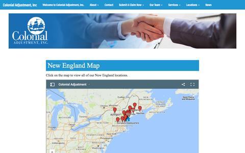 Screenshot of Maps & Directions Page colonialadj.com captured Nov. 9, 2016