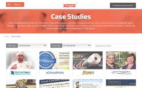 Screenshot of Case Studies Page xzito.com - Marketing Case Studies   Internet Marketing, Design, and Development - captured Jan. 15, 2016