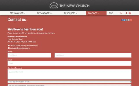 Screenshot of Contact Page newchurch.org - Contact us | New Church - captured July 24, 2017