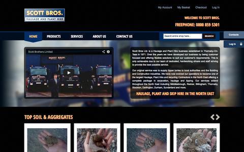 Screenshot of Home Page scottbros.com - Haulage, Plant and Skip Hire Middlesbrough - Scott Bros - captured Sept. 30, 2014