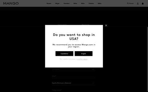 Screenshot of Signup Page mango.com - Mujer - captured Oct. 19, 2018