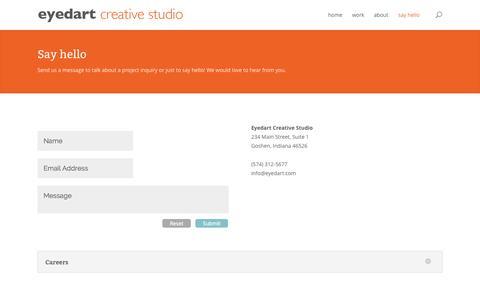 Screenshot of Contact Page eyedart.com - Say hello | EYEDART CREATIVE STUDIO - captured Oct. 3, 2014