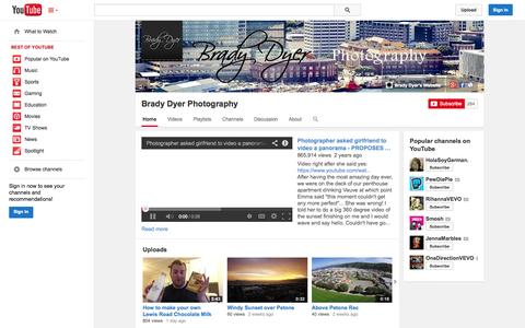 Screenshot of YouTube Page youtube.com - Brady Dyer Photography  - YouTube - captured Oct. 23, 2014