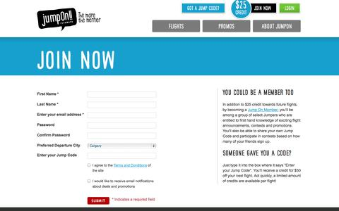 Screenshot of Signup Page gojumpon.com - Members Flight Deals & Quick Booking on Jump On! Flyaways » Jump On! - captured Oct. 6, 2014