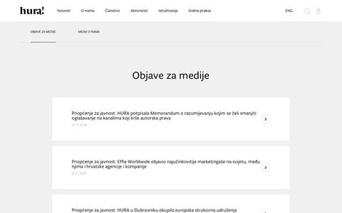Screenshot of Press Page hura.hr - HURA |PRESS - captured Oct. 22, 2018