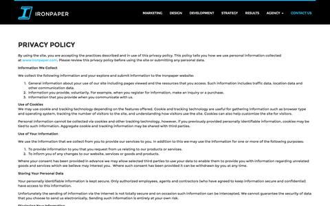 Screenshot of Privacy Page ironpaper.com - Privacy Policy - captured Jan. 9, 2016