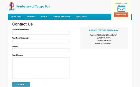 Screenshot of Contact Page presbyteryoftampabay.com - Contact Us   Presbytery of Tampa Bay - captured July 21, 2018