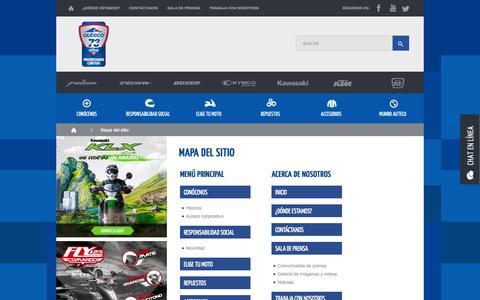 Screenshot of Site Map Page auteco.com.co - Mapa del sitio   Auteco - Las motos más vendidas en Colombia - captured Sept. 23, 2014
