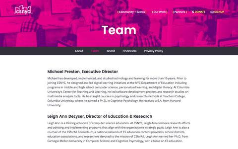 Screenshot of Team Page csnyc.org - CSNYC   Team - captured July 10, 2017