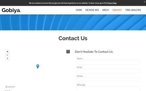 Screenshot of Contact Page gobiya.com - Contact - captured May 17, 2019