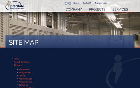 Screenshot of Site Map Page iesc1.com - Site Map | Interstate Electrical Services - captured Nov. 3, 2014