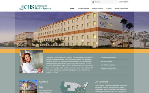 Screenshot of Home Page chs.net - Community Health Systems (CHS) - captured Sept. 24, 2014