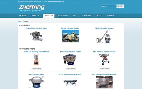 Screenshot of Products Page chinavibratingsieve.com - Welcome to ZMEC vibrating screen and vibrating sieve - captured Oct. 27, 2014