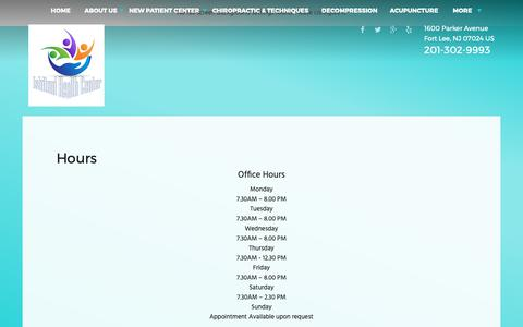 Screenshot of Hours Page ishitanihealth.com - Ishitani Health Center - Chiropractor in Fort Lee, NJ US :: Hours - captured Oct. 31, 2018