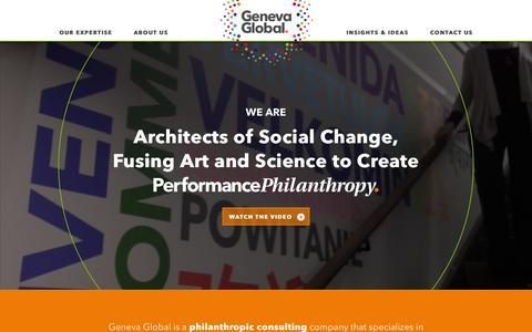 Screenshot of Home Page genevaglobal.com - International Philanthropic Consultants | Geneva Global - captured May 26, 2016