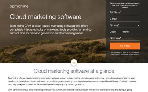 Screenshot of Landing Page bpmonline.com - Cloud-based Marketing Automation Software | bpm'online - captured June 1, 2016