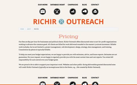 Screenshot of Pricing Page richiroutreach.com - Pricing | Richir Outreach - captured Sept. 30, 2014