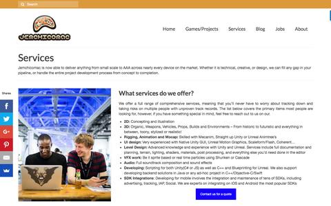 Screenshot of Services Page jemchicomac.com - Services | jemchicomac game studio - captured Aug. 7, 2016